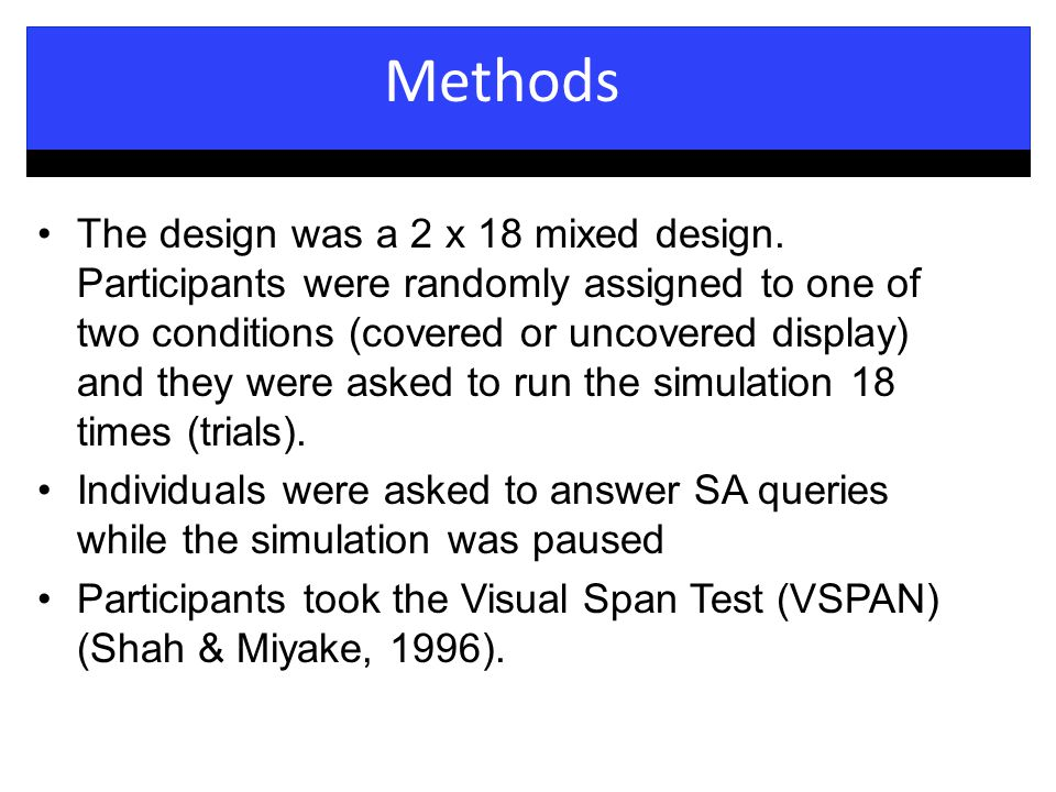 Methods The design was a 2 x 18 mixed design.