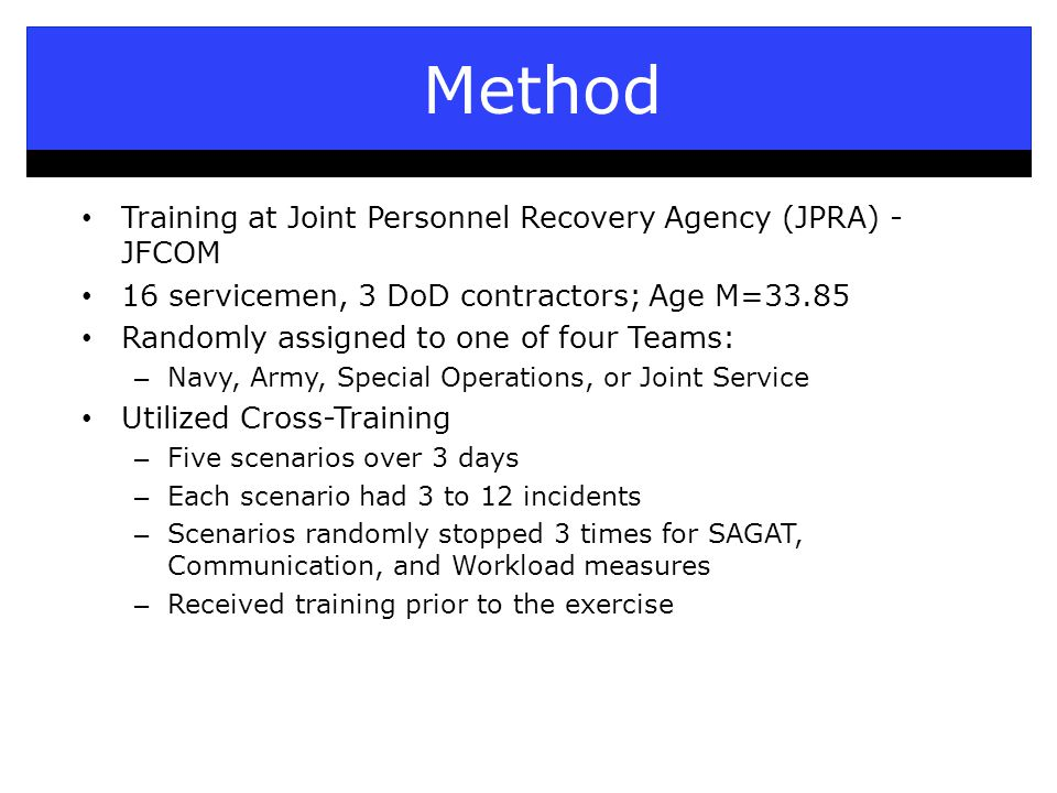 Method Training at Joint Personnel Recovery Agency (JPRA) - JFCOM 16 servicemen, 3 DoD contractors; Age M=33.85 Randomly assigned to one of four Teams: – Navy, Army, Special Operations, or Joint Service Utilized Cross-Training – Five scenarios over 3 days – Each scenario had 3 to 12 incidents – Scenarios randomly stopped 3 times for SAGAT, Communication, and Workload measures – Received training prior to the exercise