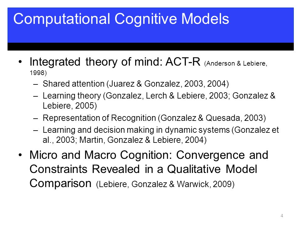 Integrated theory of mind: ACT-R (Anderson & Lebiere, 1998) –Shared attention (Juarez & Gonzalez, 2003, 2004) –Learning theory (Gonzalez, Lerch & Lebiere, 2003; Gonzalez & Lebiere, 2005) –Representation of Recognition (Gonzalez & Quesada, 2003) –Learning and decision making in dynamic systems (Gonzalez et al., 2003; Martin, Gonzalez & Lebiere, 2004) Micro and Macro Cognition: Convergence and Constraints Revealed in a Qualitative Model Comparison (Lebiere, Gonzalez & Warwick, 2009) 4 Computational Cognitive Models