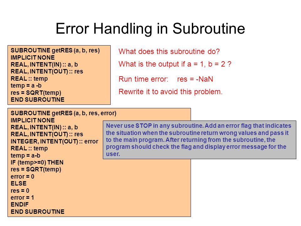 Error Handling in Subroutine SUBROUTINE getRES (a, b, res) IMPLICIT NONE REAL, INTENT(IN) :: a, b REAL, INTENT(OUT) :: res REAL :: temp temp = a -b res = SQRT(temp) END SUBROUTINE What does this subroutine do.
