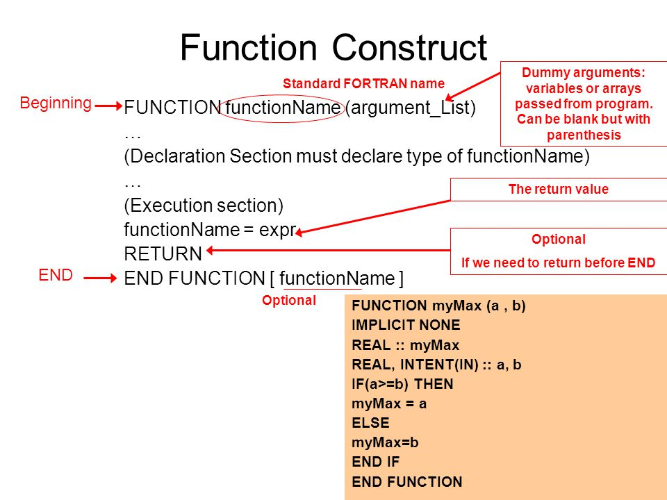 Function Construct FUNCTION functionName (argument_List) … (Declaration Section must declare type of functionName) … (Execution section) functionName = expr RETURN END FUNCTION [ functionName ] FUNCTION myMax (a, b) IMPLICIT NONE REAL :: myMax REAL, INTENT(IN) :: a, b IF(a>=b) THEN myMax = a ELSE myMax=b END IF END FUNCTION Beginning END Optional Standard FORTRAN name Dummy arguments: variables or arrays passed from program.