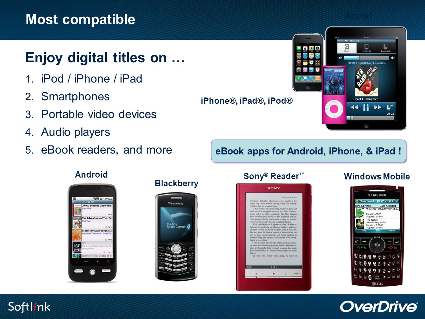 Most compatible Enjoy digital titles on … 1. iPod / iPhone / iPad 2. Smartphones 3. Portable video devices 4. Audio players 5. eBook readers, and more
