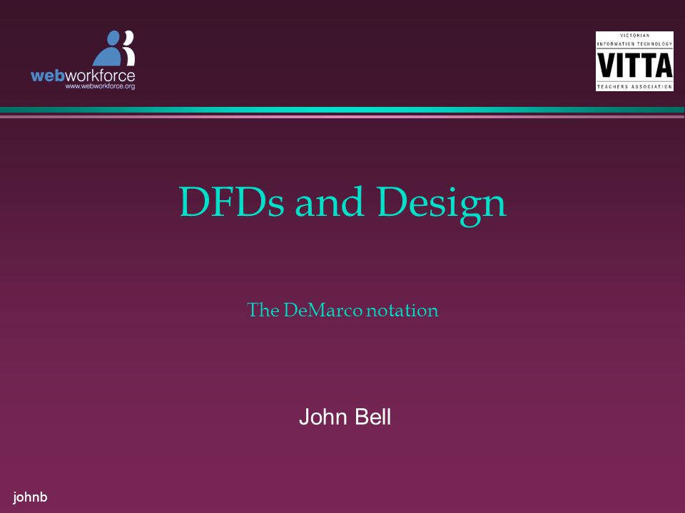 johnb DFDs and Design John Bell The DeMarco notation