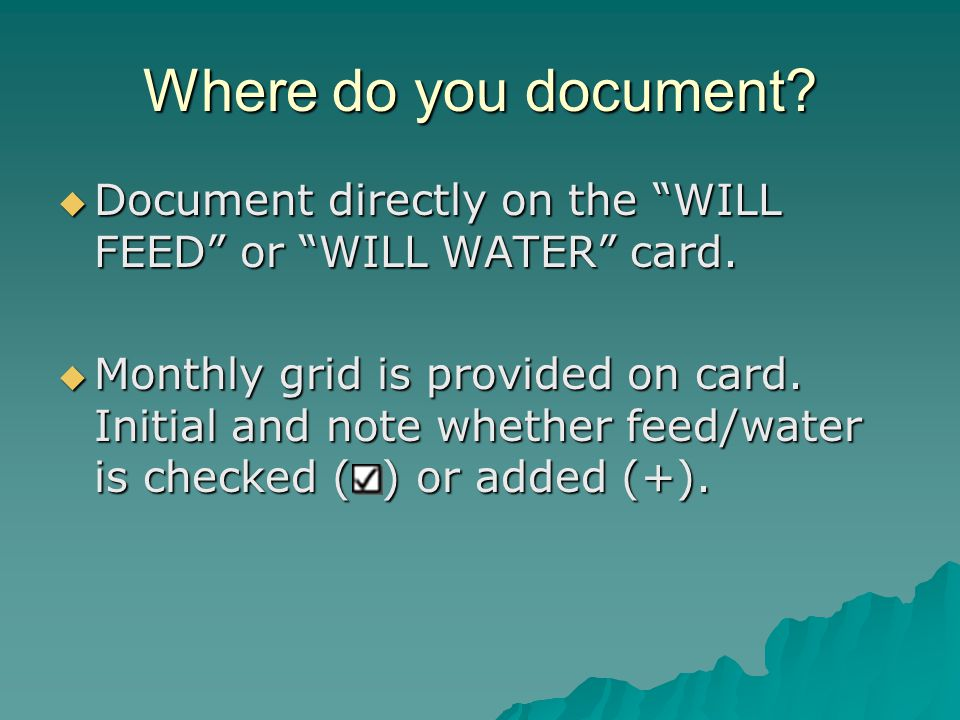 Where do you document.  Document directly on the WILL FEED or WILL WATER card.
