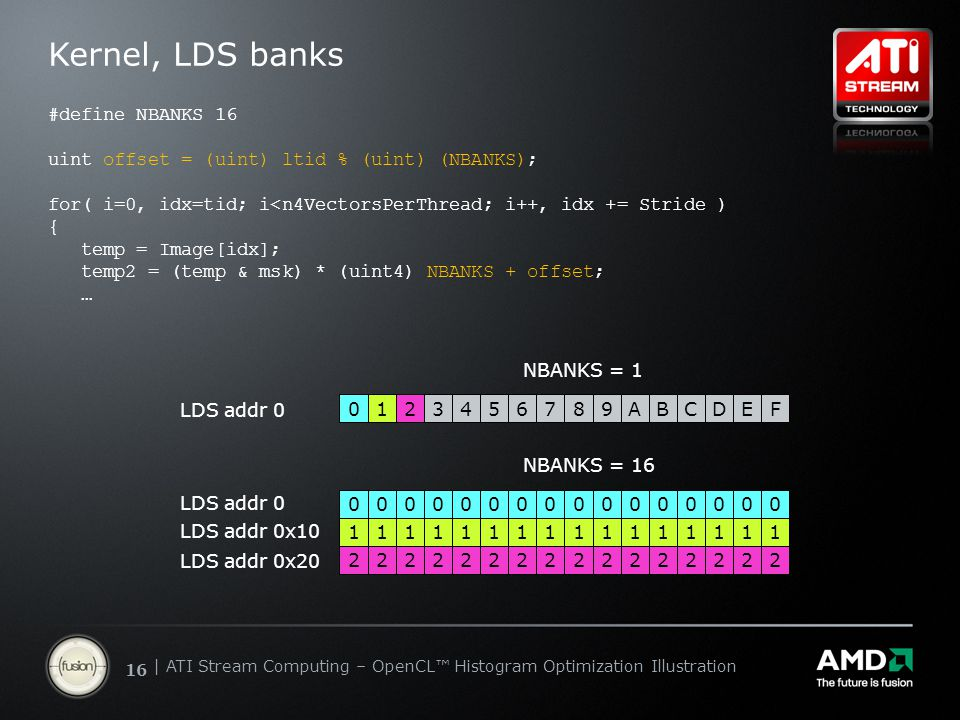 | ATI Stream Computing Update | Confidential 16 | ATI Stream Computing – OpenCL™ Histogram Optimization Illustration Kernel, LDS banks #define NBANKS 16 uint offset = (uint) ltid % (uint) (NBANKS); for( i=0, idx=tid; i<n4VectorsPerThread; i++, idx += Stride ) { temp = Image[idx]; temp2 = (temp & msk) * (uint4) NBANKS + offset; … 0123456789ABCDEF LDS addr 0 NBANKS = 1 0000000000000000 1111111111111111 2222222222222222 LDS addr 0 LDS addr 0x10 LDS addr 0x20 NBANKS = 16