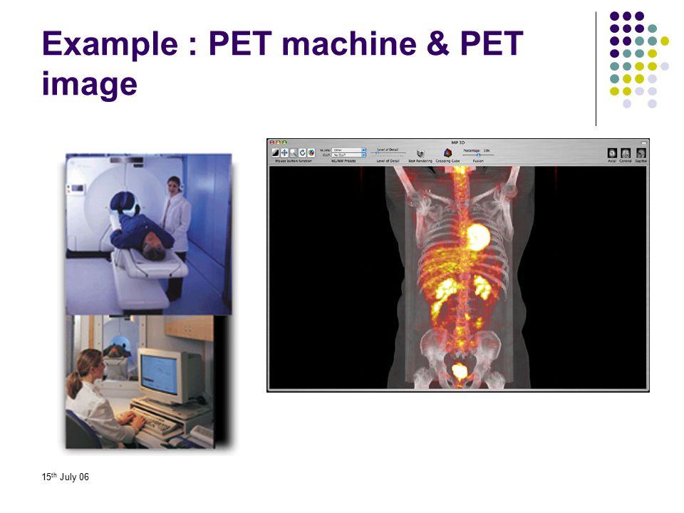 15 th July 06 Example : PET machine & PET image