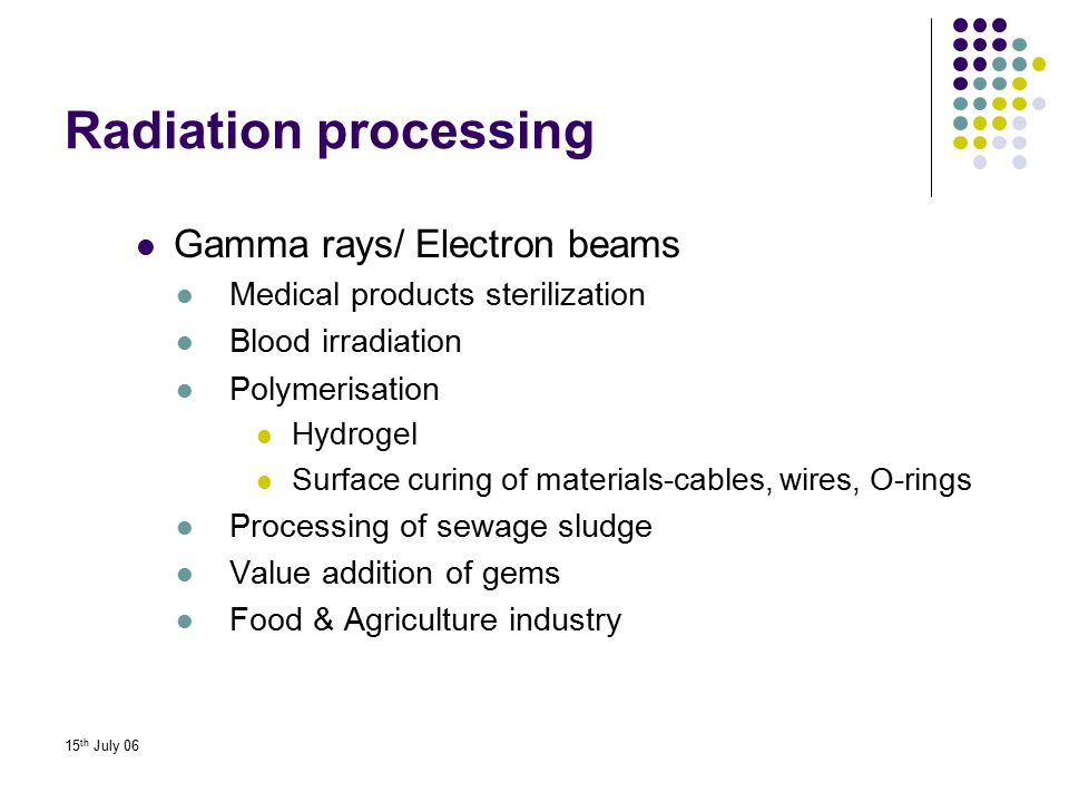 15 th July 06 Radiation processing Gamma rays/ Electron beams Medical products sterilization Blood irradiation Polymerisation Hydrogel Surface curing