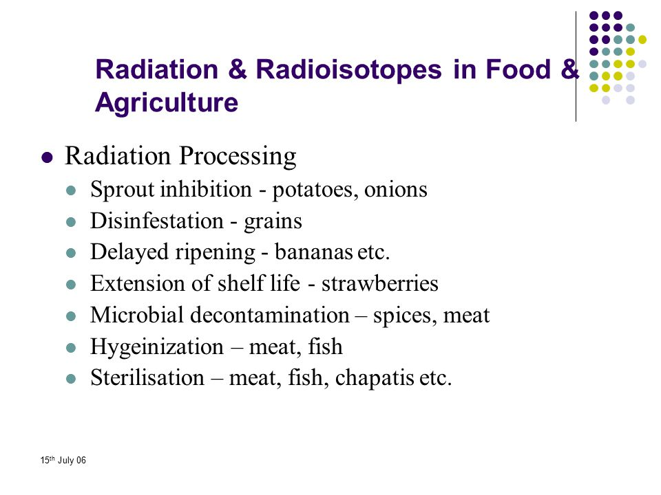 15 th July 06 Radiation & Radioisotopes in Food & Agriculture Radiation Processing Sprout inhibition - potatoes, onions Disinfestation - grains Delaye