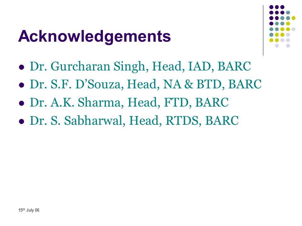 15 th July 06 Acknowledgements Dr. Gurcharan Singh, Head, IAD, BARC Dr. S.F. D'Souza, Head, NA & BTD, BARC Dr. A.K. Sharma, Head, FTD, BARC Dr. S. Sab