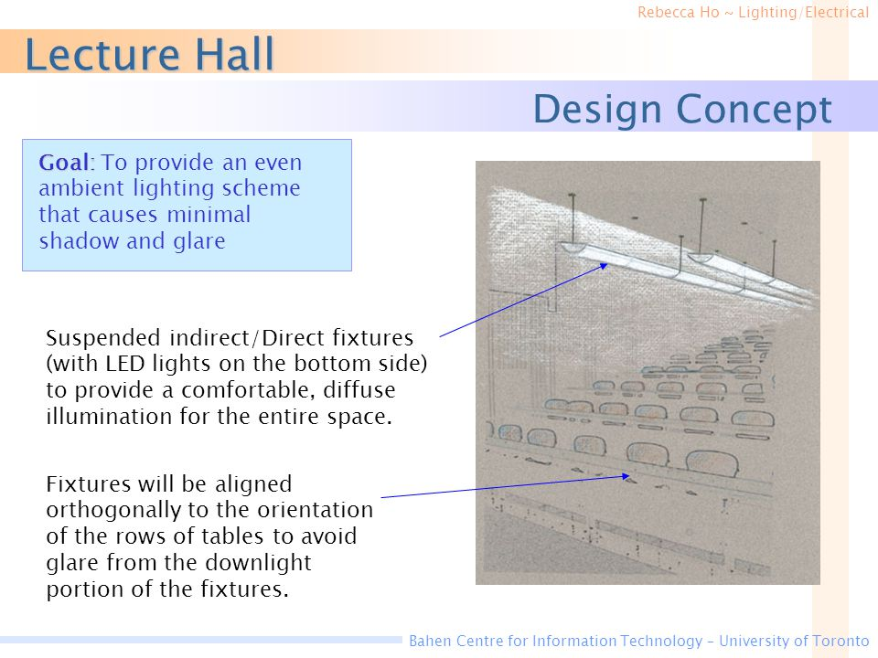 Rebecca Ho ~ Lighting/Electrical Bahen Centre for Information Technology – University of Toronto Lecture Hall Design Concept Fixtures will be aligned orthogonally to the orientation of the rows of tables to avoid glare from the downlight portion of the fixtures.