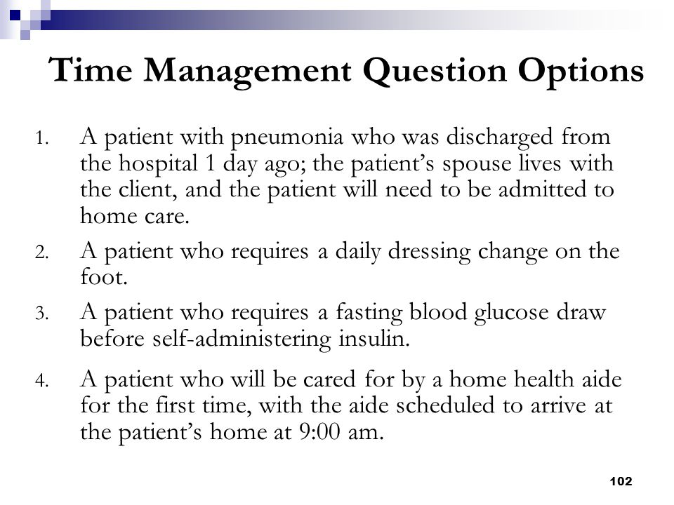 102 Time Management Question Options 1. A patient with pneumonia who was discharged from the hospital 1 day ago; the patient's spouse lives with the c