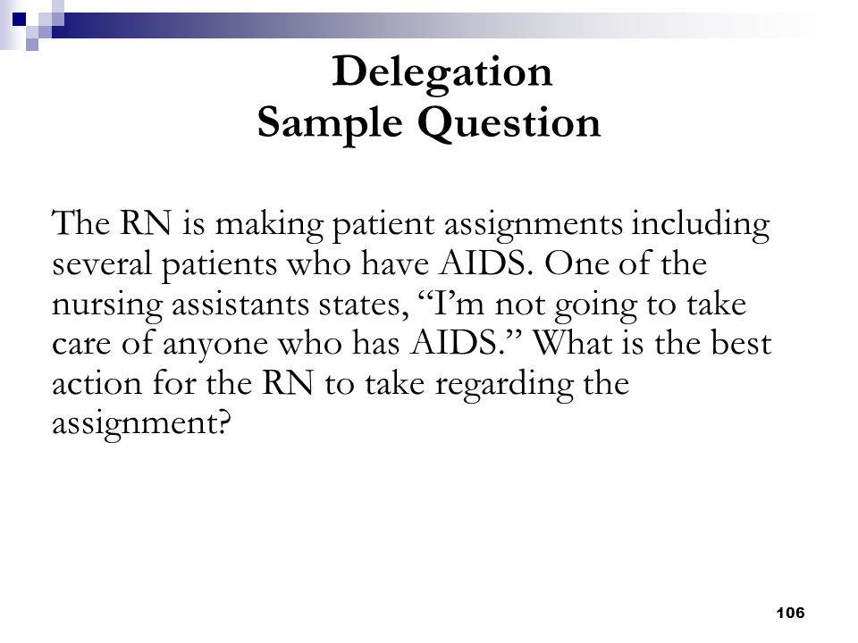 """106 The RN is making patient assignments including several patients who have AIDS. One of the nursing assistants states, """"I'm not going to take care o"""