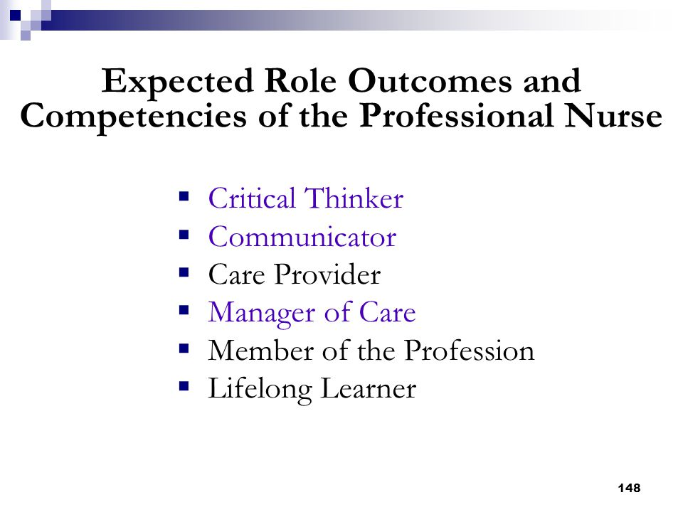 148 Expected Role Outcomes and Competencies of the Professional Nurse  Critical Thinker  Communicator  Care Provider  Manager of Care  Member of