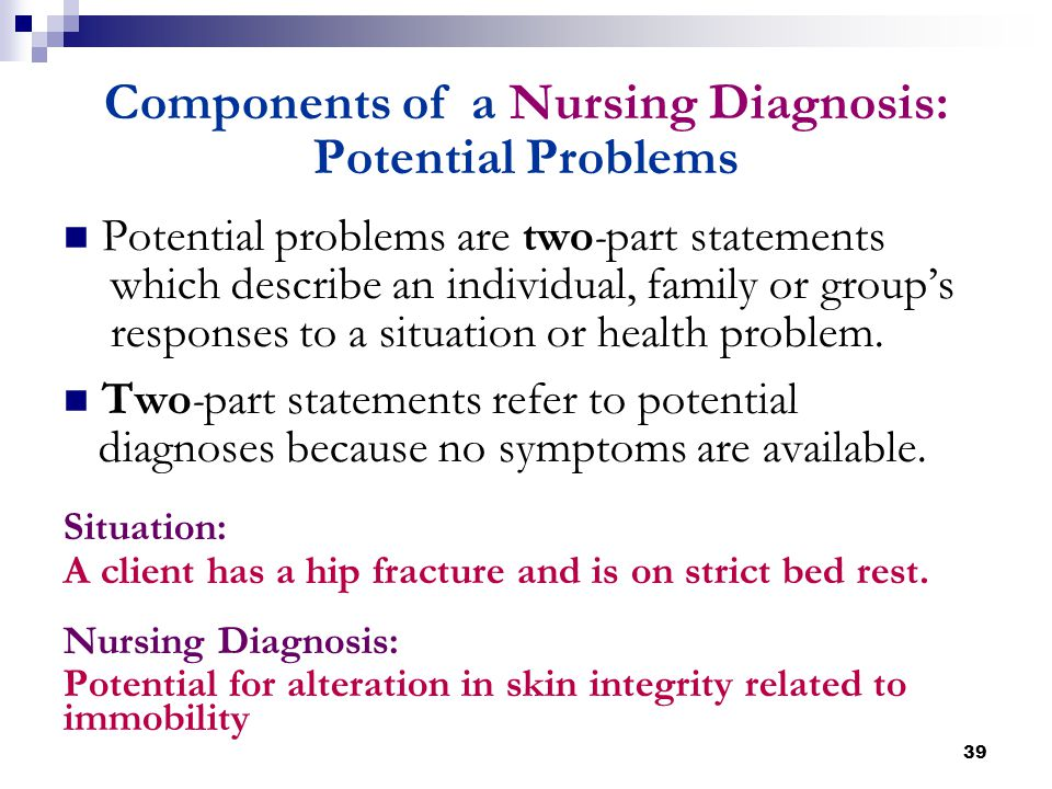 39 Components of a Nursing Diagnosis: Potential Problems Potential problems are two-part statements which describe an individual, family or group's re