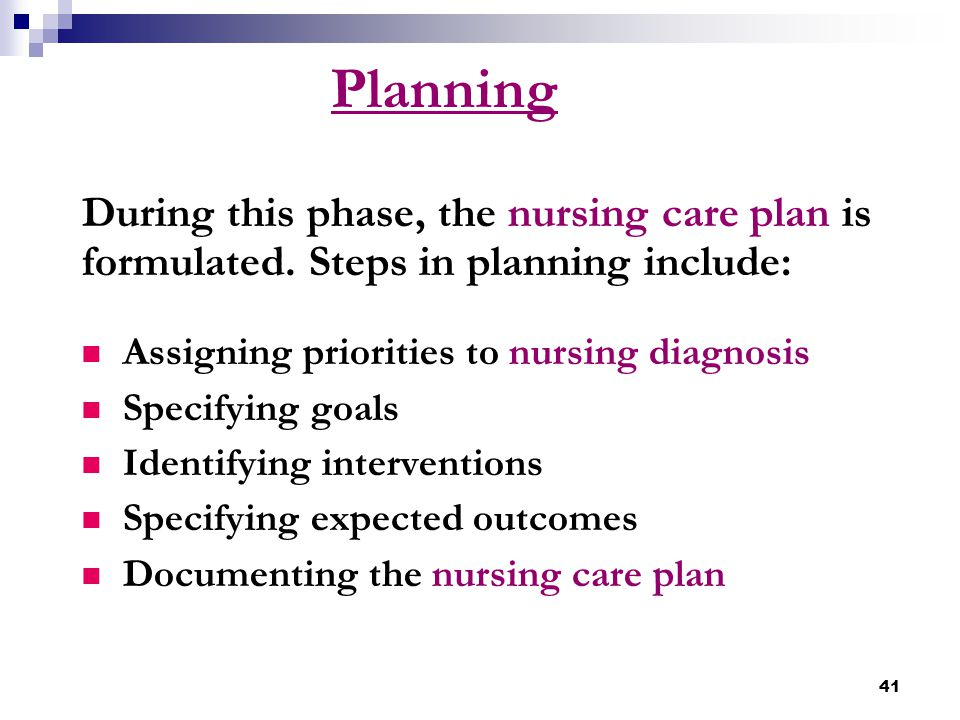 41 Planning During this phase, the nursing care plan is formulated. Steps in planning include: Assigning priorities to nursing diagnosis Specifying go