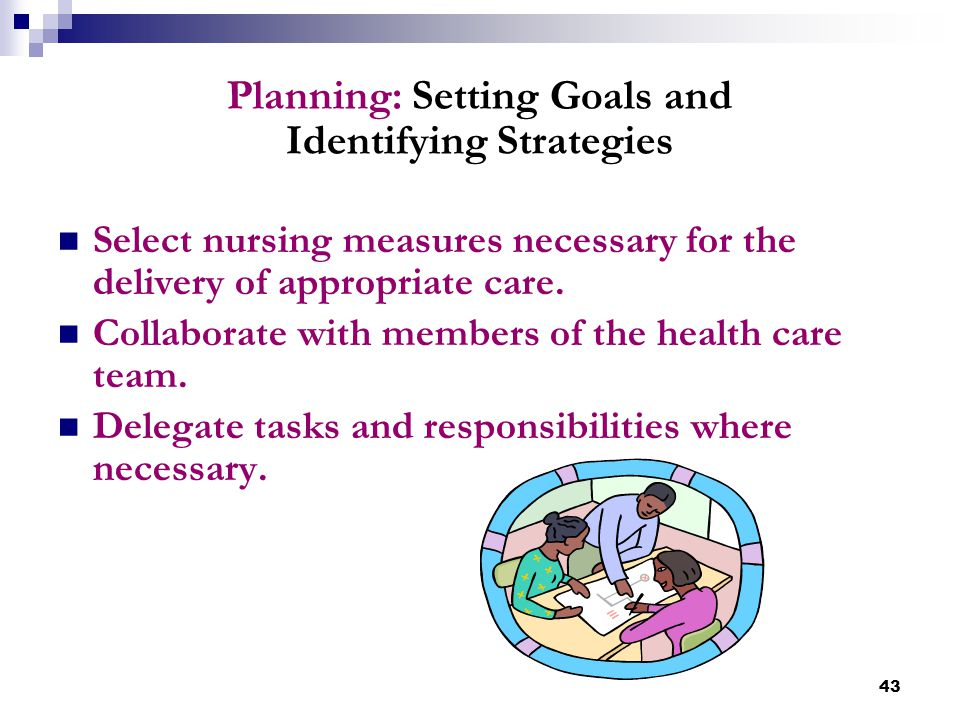 43 Planning: Setting Goals and Identifying Strategies Select nursing measures necessary for the delivery of appropriate care. Collaborate with members
