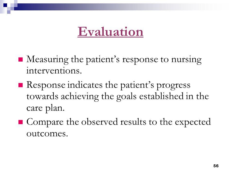 56 Evaluation Measuring the patient's response to nursing interventions. Response indicates the patient's progress towards achieving the goals establi