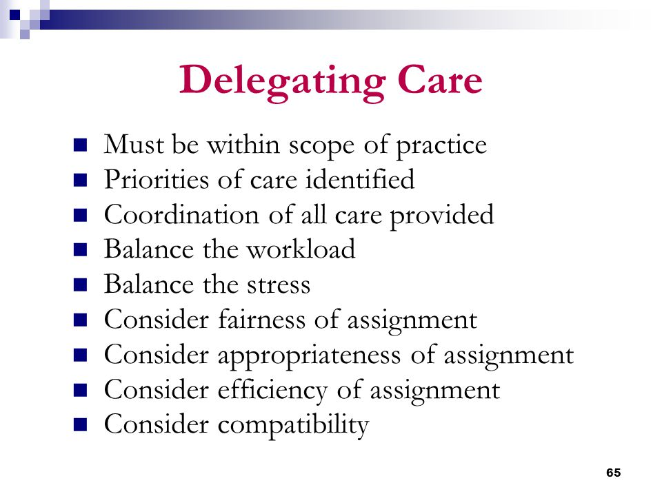 65 Delegating Care Must be within scope of practice Priorities of care identified Coordination of all care provided Balance the workload Balance the s