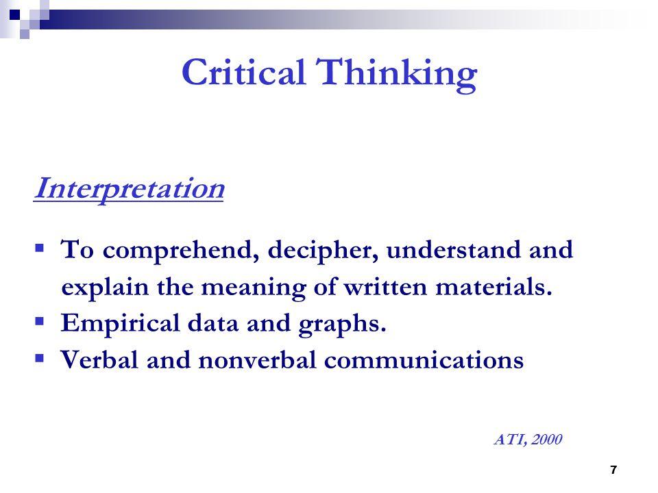 Catalog   IBAR Critical Thinking Method