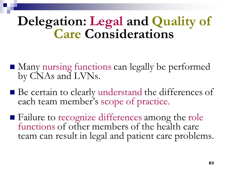 83 Delegation: Legal and Quality of Care Considerations Many nursing functions can legally be performed by CNAs and LVNs. Be certain to clearly unders