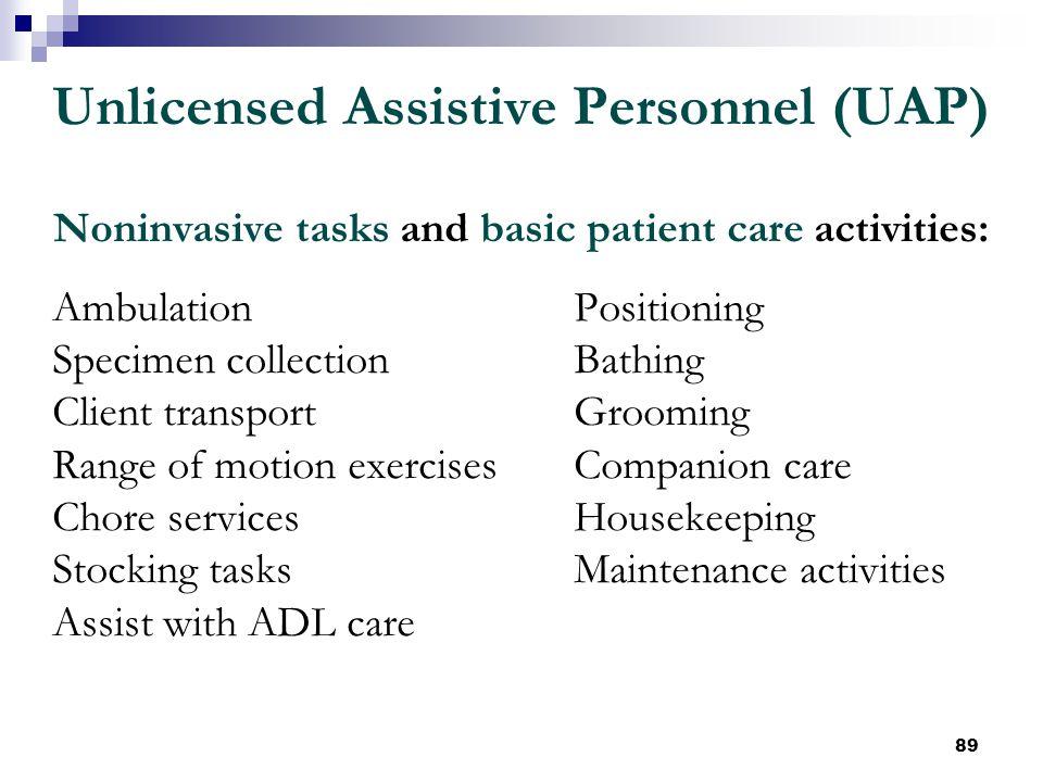 89 Unlicensed Assistive Personnel (UAP) Noninvasive tasks and basic patient care activities: AmbulationPositioning Specimen collectionBathing Client t