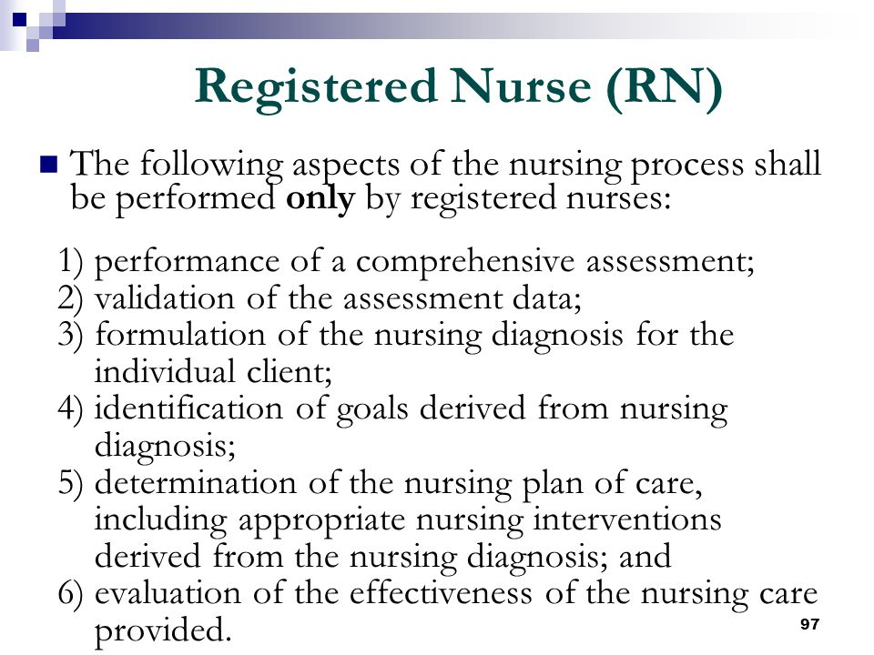 97 The following aspects of the nursing process shall be performed only by registered nurses: 1) performance of a comprehensive assessment; 2) validat
