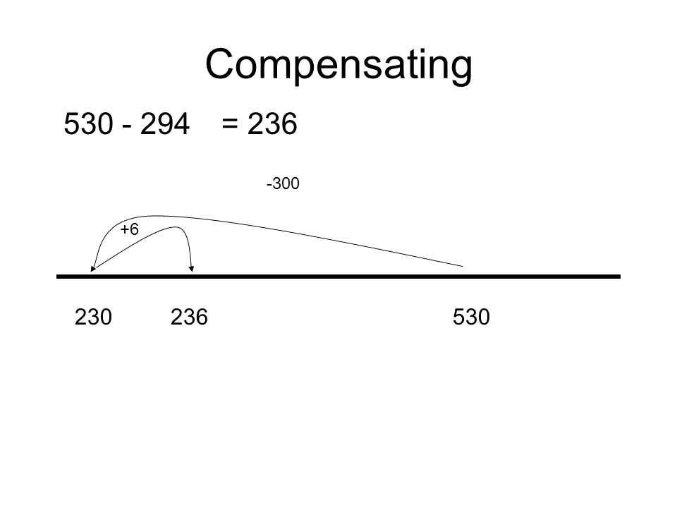 Compensating 530 - 294 230236530 -300 +6 = 236