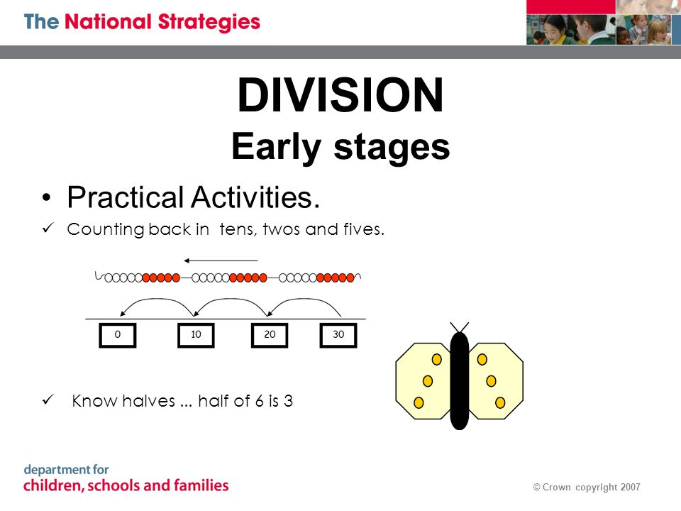 © Crown copyright 2007 DIVISION Early stages Practical Activities. Counting back in tens, twos and fives. Know halves... half of 6 is 3