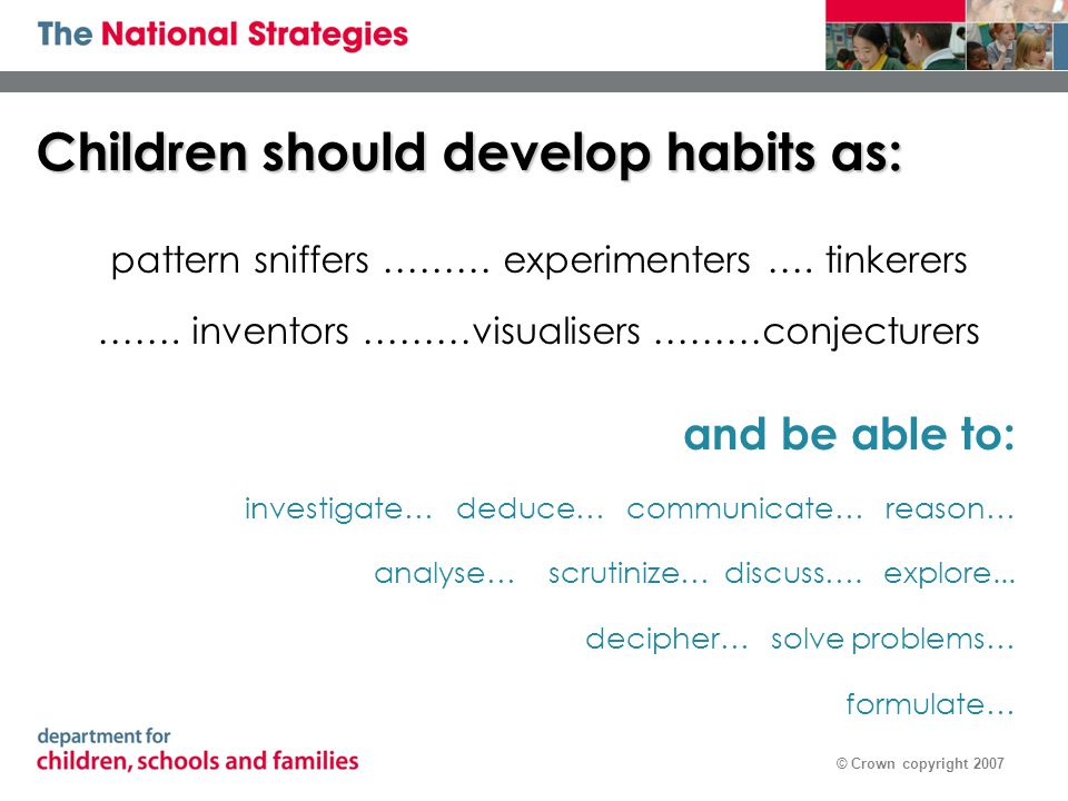 © Crown copyright 2007 Children should develop habits as: pattern sniffers ……… experimenters …. tinkerers ……. inventors ………visualisers ………conjecturers