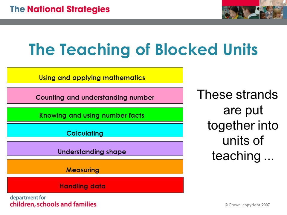 © Crown copyright 2007 The Teaching of Blocked Units These strands are put together into units of teaching...