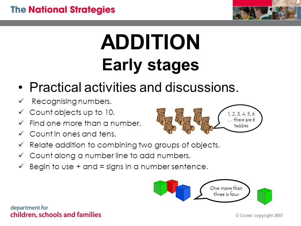 © Crown copyright 2007 ADDITION Early stages Practical activities and discussions. Recognising numbers. Count objects up to 10. Find one more than a n