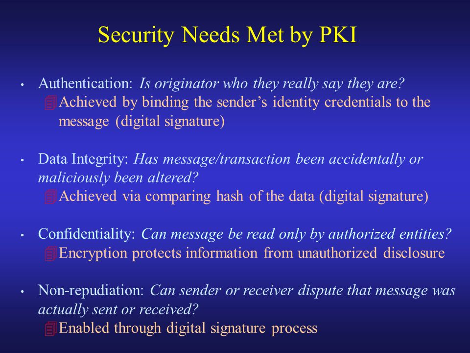Authentication: Is originator who they really say they are.