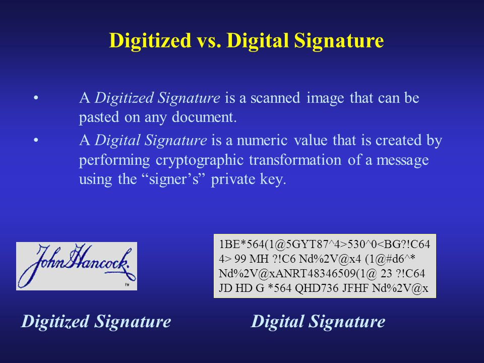 A Digitized Signature is a scanned image that can be pasted on any document.