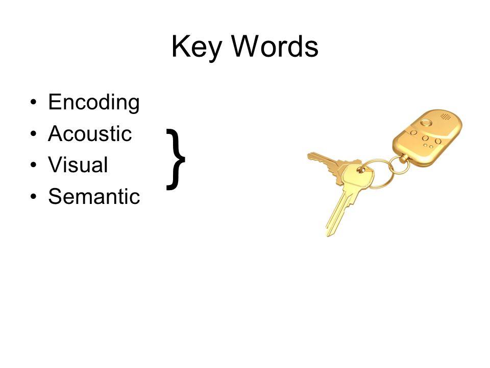 Key Words Encoding Acoustic Visual Semantic }