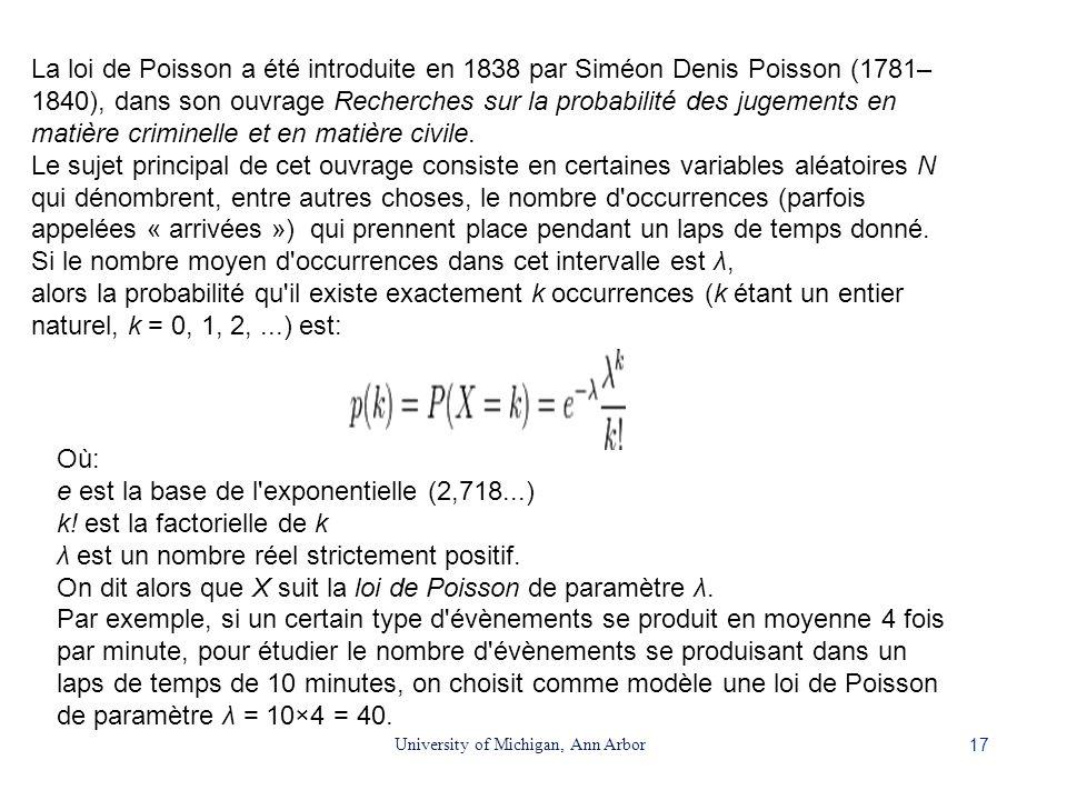 17 University of Michigan, Ann Arbor La loi de Poisson a été introduite en 1838 par Siméon Denis Poisson (1781– 1840), dans son ouvrage Recherches sur
