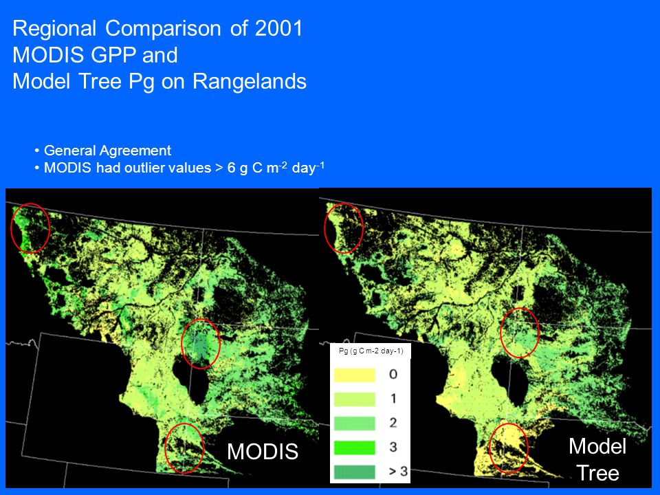 MODIS Regional Comparison of 2001 MODIS GPP and Model Tree Pg on Rangelands Pg (g C m-2 day-1) General Agreement MODIS had outlier values > 6 g C m -2 day -1 Model Tree