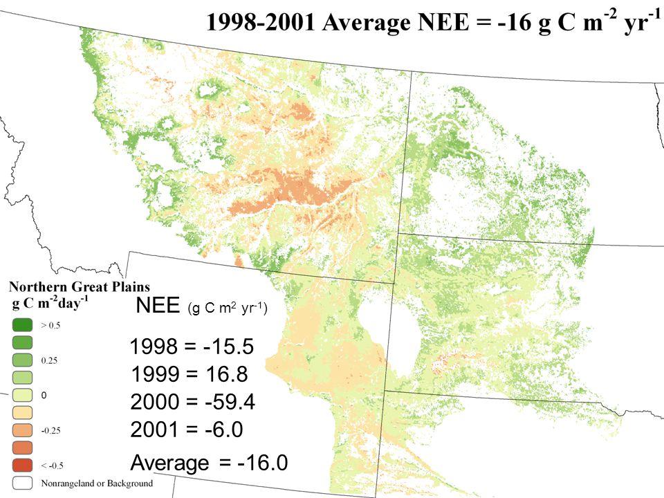 1998 = -15.5 NEE (g C m 2 yr -1 ) 1999 = 16.8 2000 = -59.4 2001 = -6.0 Average = -16.0