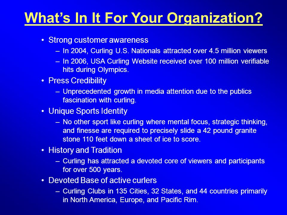 What's In It For Your Organization. Strong customer awareness –In 2004, Curling U.S.