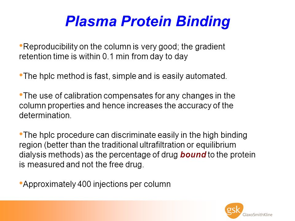 Plasma Protein Binding Reproducibility on the column is very good; the gradient retention time is within 0.1 min from day to day The hplc method is fa