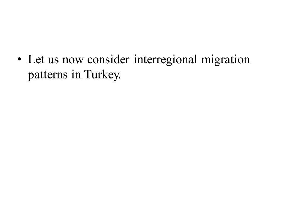 Let us now consider interregional migration patterns in Turkey.