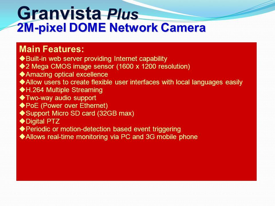 Main Features:  Built-in web server providing Internet capability  2 Mega CMOS image sensor (1600 x 1200 resolution)  Amazing optical excellence 
