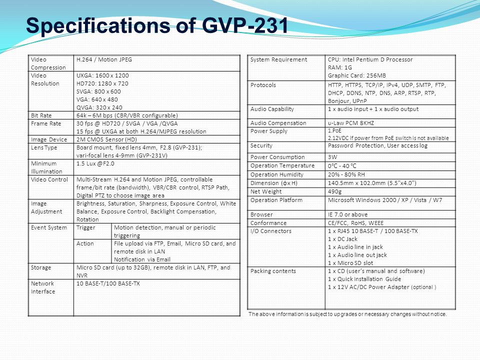 Specifications of GVP-231 Video Compression H.264 / Motion JPEG Video Resolution UXGA: 1600 x 1200 HD720: 1280 x 720 SVGA: 800 x 600 VGA: 640 x 480 QVGA: 320 x 240 Bit Rate64k – 6M bps (CBR/VBR configurable) Frame Rate30 fps @ HD720 / SVGA / VGA /QVGA 15 fps @ UXGA at both H.264/MJPEG resolution Image Device2M CMOS Sensor (HD) Lens TypeBoard mount, fixed lens 4mm, F2.8 (GVP-231); vari-focal lens 4-9mm (GVP-231V) Minimum Illumination 1.5 Lux @F2.0 Video ControlMulti-Stream H.264 and Motion JPEG, controllable frame/bit rate (bandwidth), VBR/CBR control, RTSP Path, Digital PTZ to choose image area Image Adjustment Brightness, Saturation, Sharpness, Exposure Control, White Balance, Exposure Control, Backlight Compensation, Rotation Event SystemTriggerMotion detection, manual or periodic triggering ActionFile upload via FTP, Email, Micro SD card, and remote disk in LAN Notification via Email StorageMicro SD card (up to 32GB), remote disk in LAN, FTP, and NVR Network Interface 10 BASE-T/100 BASE-TX System RequirementCPU: Intel Pentium D Processor RAM: 1G Graphic Card: 256MB ProtocolsHTTP, HTTPS, TCP/IP, IPv4, UDP, SMTP, FTP, DHCP, DDNS, NTP, DNS, ARP, RTSP, RTP, Bonjour, UPnP Audio Capability1 x audio input + 1 x audio output Audio Compensationu-Law PCM 8KHZ Power Supply 1.PoE 2.12VDC if power from PoE switch is not available SecurityPassword Protection, User access log Power Consumption3W Operation Temperature 0 ℃ - 40 ℃ Operation Humidity20% - 80% RH Dimension (φx H)140.5mm x 102.0mm (5.5 x4.0 ) Net Weight490g Operation PlatformMicrosoft Windows 2000 / XP / Vista / W7 BrowserIE 7.0 or above ConformanceCE/FCC, RoHS, WEEE I/O Connectors1 x RJ45 10 BASE-T / 100 BASE-TX 1 x DC Jack 1 x Audio line in jack 1 x Audio line out jack 1 x Micro SD slot Packing contents1 x CD (user's manual and software) 1 x Quick Installation Guide 1 x 12V AC/DC Power Adapter (optional ) The above information is subject to upgrades or necessary changes without notice.