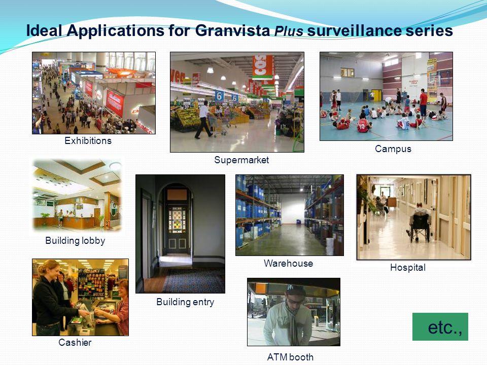 Building lobby etc., Ideal Applications for Granvista Plus surveillance series Exhibitions Campus Warehouse ATM booth Supermarket Cashier Building ent