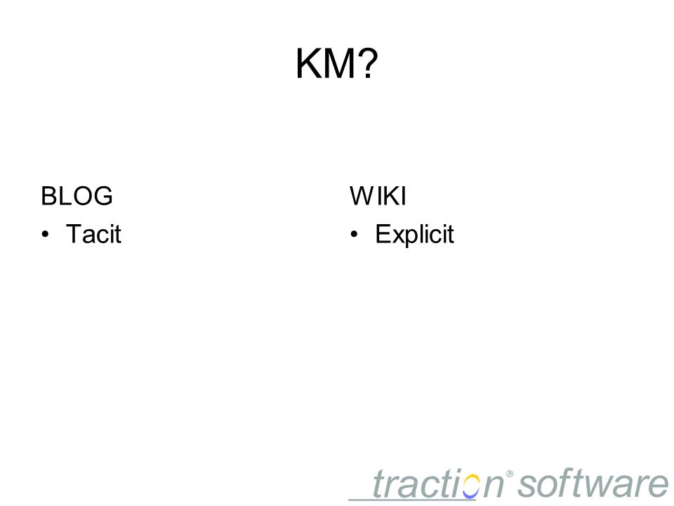 KM BLOG Tacit WIKI Explicit
