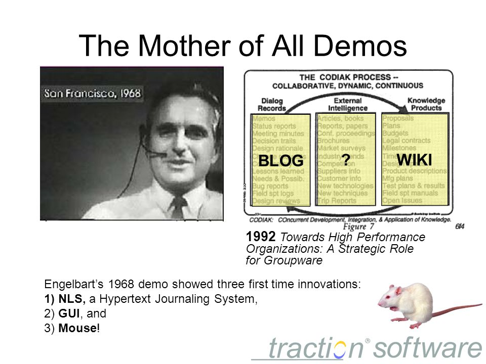 1992 Towards High Performance Organizations: A Strategic Role for Groupware The Mother of All Demos Engelbart's 1968 demo showed three first time innovations: 1) NLS, a Hypertext Journaling System, 2) GUI, and 3) Mouse.