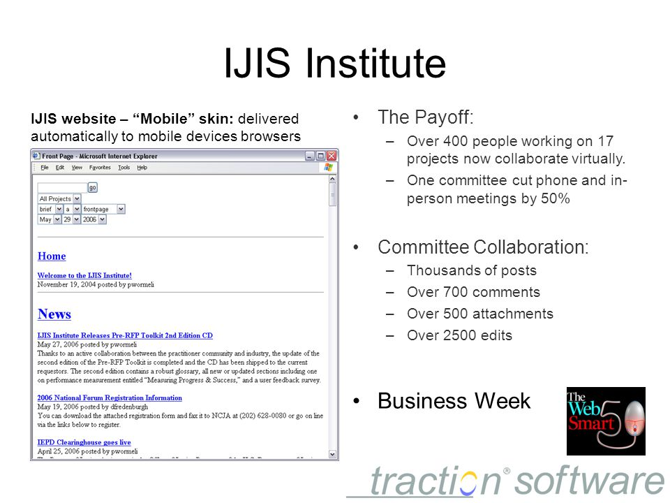IJIS Institute The Payoff: –Over 400 people working on 17 projects now collaborate virtually.