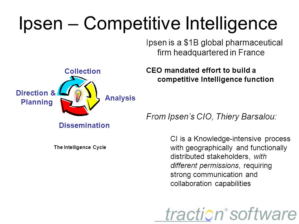 Ipsen – Competitive Intelligence Ipsen is a $1B global pharmaceutical firm headquartered in France CEO mandated effort to build a competitive Intelligence function From Ipsen's CIO, Thiery Barsalou: CI is a Knowledge-intensive process with geographically and functionally distributed stakeholders, with different permissions, requiring strong communication and collaboration capabilities The Intelligence Cycle Direction & Planning Dissemination Analysis Collection