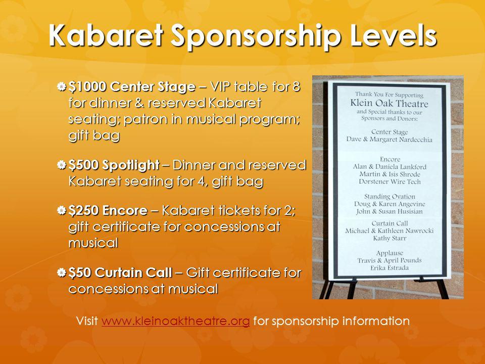 Kabaret Sponsorship Levels  $1000 Center Stage – VIP table for 8 for dinner & reserved Kabaret seating; patron in musical program; gift bag  $500 Sp