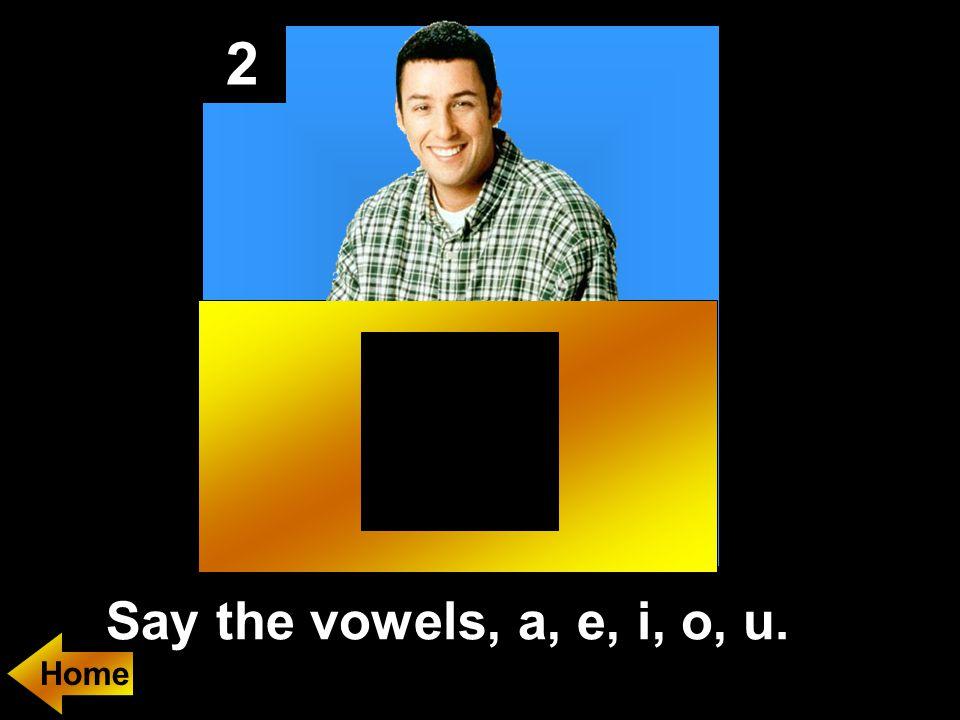 2 Say the vowels, a, e, i, o, u.