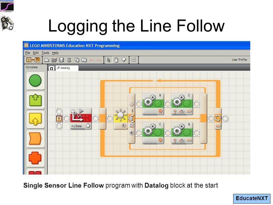 EducateNXT Logging the Line Follow Single Sensor Line Follow program with Datalog block at the start